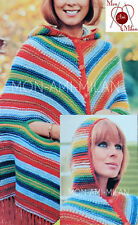 Vintage Knitting Pattern • LADIES FRINGED HOODED CLOAK CAPE COAT • DK EASY KNIT