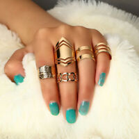 5 Pcs/set Gold Midi Finger Ring Set Vintage Punk Boho Knuckle Rings Jewelry NEW