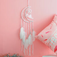 CW_ White Dream Catcher Girls Moon Feather Dreamcatcher Wall Hanging Home Decor