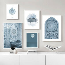 Blue Moroccan Mosque Architecture Canvas Print Islamic Poster Modern Home Decor