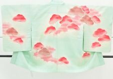 :=Japanese Kimono Vintage Haori women / Silk / robe fabric Green 1nfuji29220