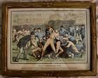 Original Vintage A.B. Frost Print Yale vs Princeton (Football), 1879 Framed