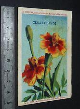 CHROMO BLEDINE JACQUEMAIRE VILLEFRANCHE RHONE 1930-1939 FLEURS OEILLETS D'INDE