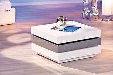 Table basse meuble salon moderne design 3 plateaux pivotants blanc GRIS BRILLANT