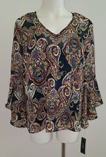 NWT A Byer Blue Purple Paisley Sheer Shirt Attached Tank 3/4 Bell Sleeves MEDIUM