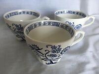 3 J & C Meakin England Ironstone Blue Floral Onion Handcrafted Tea Cups