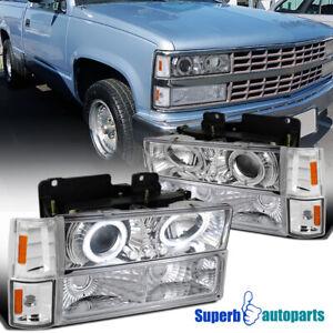 For 1994-1999 C/K1500 LED Halo Projector Headlights+Corner Bumper Lamps
