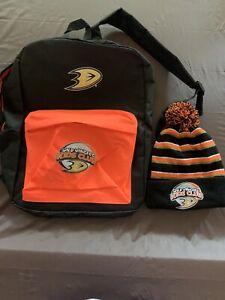 Anaheim Ducks Wild Wingers Kids Club Backpack & Beanie -New-One Size Fits Most
