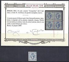 REGNO 1863 VIttorio Emanuele II 15c Litografico I Tipo MNH** Certificato (RV)