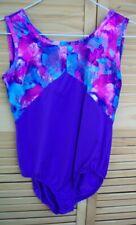 DANSKIN NOW purple foil leotard~child's XL~14-16~gymnastics