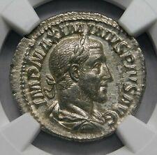 NGC AU. Maximinus I (235-238 AD) Exquisite Denarius. Ancient Roman Silver Coin.