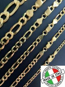 14k Gold Over Solid 925 Sterling Silver Figaro Chain Or Bracelet ITALY 4-10mm