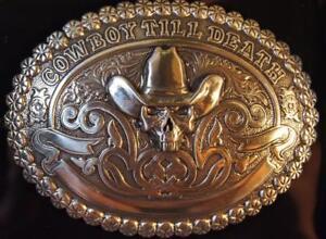 Crumrine Western Belt Buckle Antique Cowboy Till Death 38016