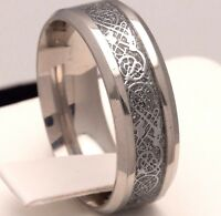 Stainless Steel Celtic New Mens Wedding Ring Womens Silver Band (Sizes J to Z+2)