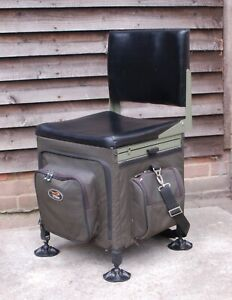 TF Gear Fishing Tackle Seat Box with Back Rest Mud Feet Pull Out Side Tray Etc