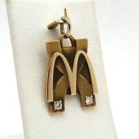 McDonalds 10K Gold Solid Diamond 10 Years Service Jostens Charm Pendant Fob