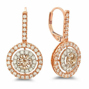 2.4ct Round Halo Drop Champagne Rock 18K White Pink Gold Earrings Lever Back
