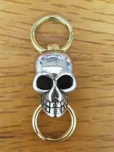 EDC Carabiner Keychain Key Ring with Stainless Steel Skull