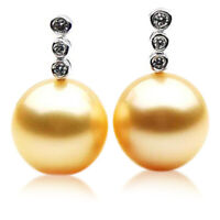 New 12mm Golden South Sea Pearl Stud Earrings Pacific Pearls® Gifts For Daughter