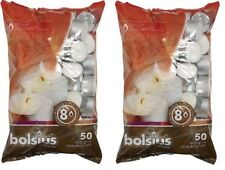 2x Bolsius Tealight Candles White - Pack of 50 - 8 Hour Burn Time