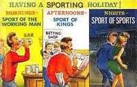 POSTCARD  COMIC  BAMFORTH   Sporting Holiday Drink Girls Betting