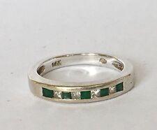 Vintage 14K White Gold Emerald & Diamond Wedding Band Stacking Ring .35 TCW G-H