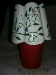 Home Interiors Pantalla Candle Topper Shade Purple & Blue Flowers w/Green Vines