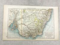 1899 Antique Map of Australia New South Wales Old Original 19th Century GERMAN