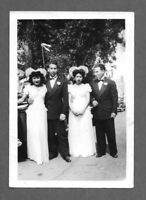 Vintage 1950s Photo Snapshot PAIR OF YOUNG COUPLES DRESSED UP AT WEDDING