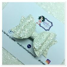 GLITTER HAIR BOW / GIRLS HAIR CLIPS/ BABY HEADBAND / GLITTER BOW 3""