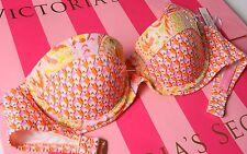 VS VICTORIAS SECRET Swim Bikini Top Flirt Bandeau Push-Up 32C Foil Paisley