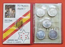 CARTERA 5 monedas 100 PESETAS 1966 * 66 + 67 + 68 + 69 RECTO TRUCADA + 70 PLATA