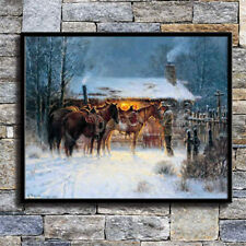 Western Cowboy Horse Winter Home Decor HD Canvas Print Picture Wall Art Poster