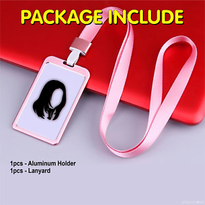 Aluminum ID Holder with Lanyard Vertical