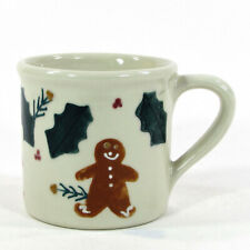 Hartstone Pottery GINGERBREAD MAN 14oz Mug Green Red Holly Berry Vintage 1982