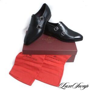 NIB #1 MENSWEAR Carmina Mallorca 80281 Black Inca Double Monk Shoes NR 8 #R87
