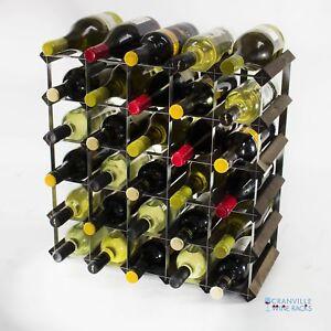 Cranville wine rack storage 30 bottle dark oak stain wood and metal self build