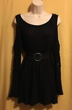Cha Cha Vente women's ls black cold shoulder stretch waffle sweater top PXL $68