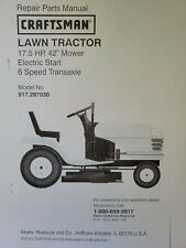 Sears Craftsman LT2000 17.5 hp 42 6sp Lawn Mower Tractor Parts Manual 917.287030