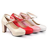 Womens Cross Strap Platform High Block Heel Mary Janes Shoes Wedding Pumps 2017
