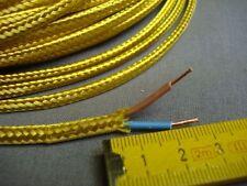 fil câble électrique gainé tissu OR PLAT (lot de 1,5 m) 2 brins 2 X 0,5 mm2