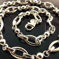 NECKLACE CHAIN  GENUINE REAL 925 STERLING SILVER S/F SOLID ANTIQUE BELCHER LINK