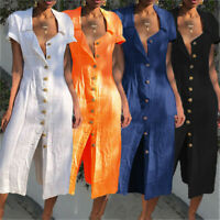 Women Summer Casual Short Sleeve Button Down Loose Long Maxi Party Shirt Dress