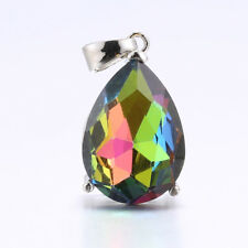 Silver Plated Pink Rainbow Heart Sapphire Gemstone Pendant For Necklace Jewelry
