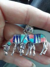 Santa Fe, Sterling Silver, (2) Horse Pendant. Multi-Gemstone