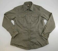 Duluth Trading Mens Button Front Shirt Drab Green Lng Sleeve Armpit Gussets Sz M
