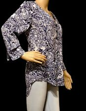 Fred David 3/4 Sleeve Blouse Womens Size Small Paisley Blue Floral Details