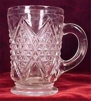 Antique Interlocking Diamonds Mug Early American Pattern Glass Clear HELP