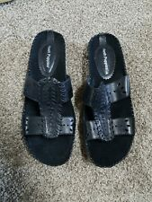 Hush Puppies Black Leather Slides Sandals Slip on Size 8