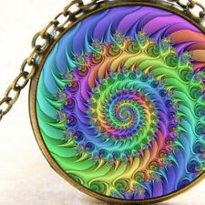New Rainbow Fibonacci Spiral, Pendant Necklace, Sacred Geometry Universal Gift